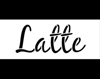 "Latte Word Art Stencil-Casual Script - 5"" X 2"" -STCL828_2  by StudioR12"