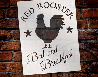 Red Rooster Bed and Breakfast - Art Stencil - Select Size - STCL1217 - by StudioR12