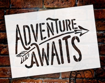 "Adventure Awaits Stencil  by StudioR12 - word art - rustic sign with arrow- paint  ""for Kids room art""  ""word art""  Select Size - STCL1751"