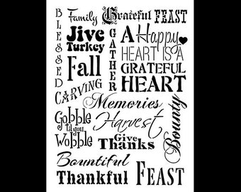 Thanksgiving Background-Word Stencil-Select Size-SKU: STCL693