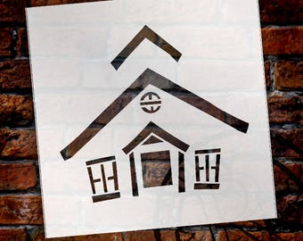 "Schoolhouse Stencil - 6""x 6"" - STCL507 - by StudioR12"