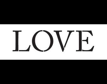 "Love - Word Stencil - Traditional - 6"" X 2""- SKU: STCL775_2"