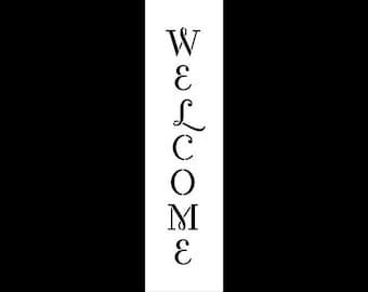 """Word Stencil - Welcome - Vintage Swash Vertical- 15"""" X 4""""-SKU:STCL593"""