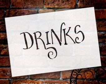 Wedding Sign Stencil - Drinks - Fancy Funky - Select Size- STCL1635 - by StudioR12