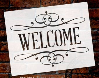 Welcome Word Stencil - Skinny Serif with Flourish - Select Size - STCL1006 - by StudioR12