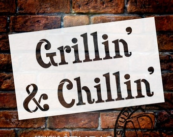 Grillin' & Chilin' - Word Stencil - Select Size - STCL1301 - by StudioR12