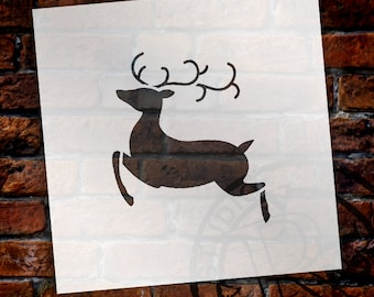 Christmas Shape Stencil - Flying Reindeer - Select Size - STCL1547 - by StudioR12