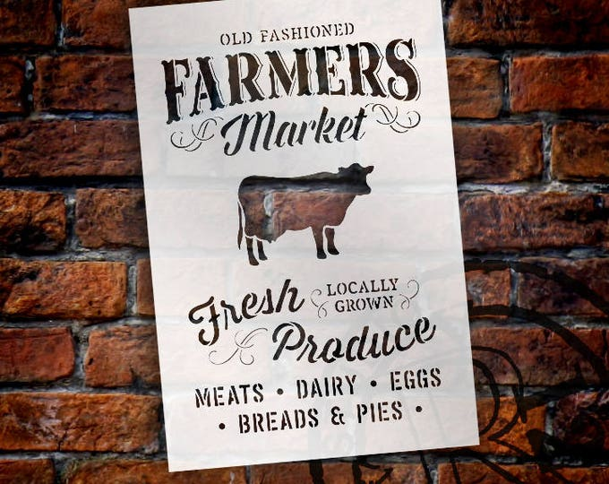 Featured listing image: Old Fashioned Farmers Market Stencil -By StudioR12 - Fresh Produce  Locally Grown with Cow Sign Stencil -  Paint a Wood Sign -  SELECT SIZE