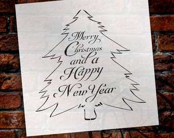 Merry Christmas And A Happy New Year - Tree - Script - Word Art Stencil - Select Size - STCL2091 - by StudioR12