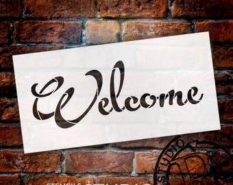 Welcome - Fun Script - Word Stencil - Select Size - STCL2086 - by StudioR12