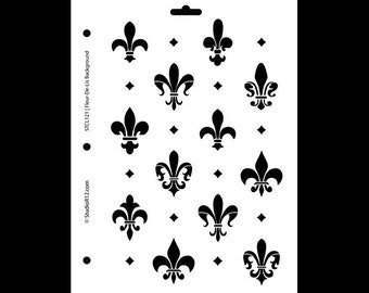 "Fleur de Lis  Background Stencil - 8 1/2"" x 11"" - STCL121 by StudioR12"