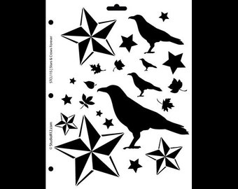 """Stars and Crows Forever Stencil-8 1/2"""" X 11""""- STCL115 - by StudioR12"""