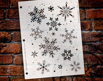 "Graceful Snowflake Stencil by StudioR12 - Christmas, Holiday, Santa, Painting, Journaling, Window, Mixed Media, Chalk- 7 5/8"" X 10-STCL161"