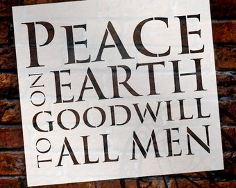 """Peace on Earth - Word Art Stencil - 11"""" X 12"""" - STCL994 by StudioR12"""