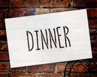 Wedding Sign Stencil - Dinner - Skinny Hand - Select Size- STCL1622 - by StudioR12