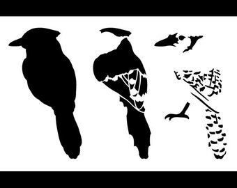 "Blue Jay Layered Bird Stencil - Back - 10"" x 6 1/2"" - SKU: STCL764_2"