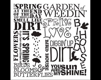 Spring Love-Background Word Stencil-Select Size-SKU: STCL698