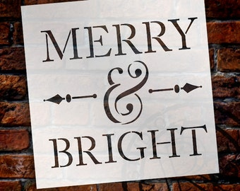 Merry and Bright - Word Stencil - STCL1139 - Select Size - by StudioR12
