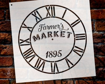 Round Clock Stencil - Industrial Roman Numerals - Farmers Market Words -  Small to Extra Large DIY Painting on Wood Home Decor - SELECT SIZE