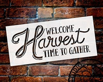 Welcome Harvest - Time to Gather Stencil by StudioR12 | Reusable Word Template for Painting on Wood | DIY Home Decor Thanksgiving Signs...