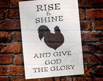 Give God The Glory - Rooster - Word Art Stencil - Select Size - STCL1861 - by StudioR12