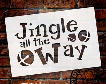 Jingle All The Way - Funky - Word Art Stencil - Select Size - STCL1388 - by studioR12