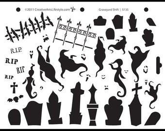 "Graveyard Shift Stencil- 8 1/2"" X 11""-STCL135 by StudioR12"