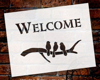 Welcome - Birds - Word Art Stencil - Select Size - STCL1479 - by StudioR12