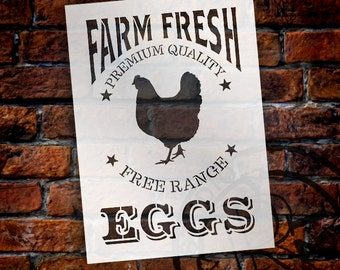 Farm Fresh Eggs, Chicken Stencil by StudioR12   Reusable Mylar Template -Paint - Wood Signs, Wall Decor, Modern Farmhouse - SELECT SIZE