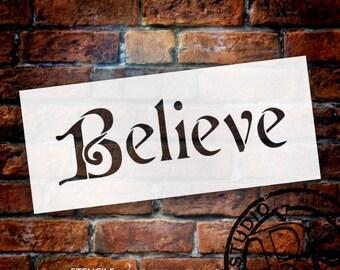 "Believe - Word Stencil - Cardinal - 7"" X 3"" - STCL992 -by StudioR12"