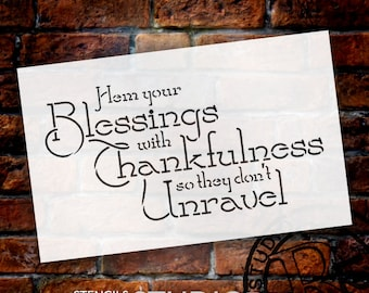 Hem Your Blessings - Inspirational Word Stencil - Select Size - STCL1373 - by StudioR12