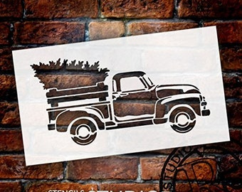 "Little Red Truck With Christmas Tree Stencil - Choose Size (12"" x 7"")"