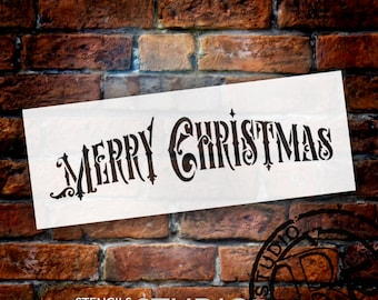 Merry Christmas Victorian Word Stencil- by StudioR12- For Painting on Wood Signs, Wood Burning, Fabric, Furniture  STCL857- Select Size