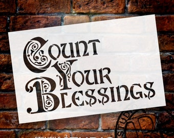 Count Your Blessings - Illuminated - Word Art Stencil - Select Size by StudioR12