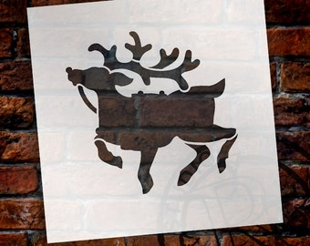 Christmas Shapes Stencil - Rudolph - Select Size - STCL1576 - by StudioR12