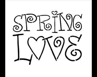 "Word Stencil - Spring Love - 8"" X 9"" - STCL318 - by StudioR12"