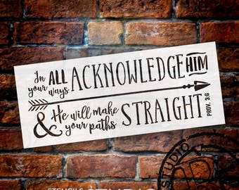 "Proverbs 3:6 - Arrow - Word Art Stencil - 27"" x 11"" - STCL2033_1 - by StudioR12"