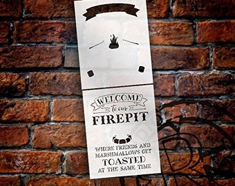 Welcome to Our Firepit Stencil - 2 Part - by StudioR12 | Reusable Mylar Template | Use to Paint Wood Signs - DIY Campfire Decor Decor -...