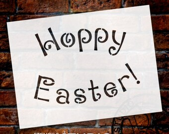 """Hoppy Easter Word Stencil - Loopy Arched - 12"""" X 9"""" - STCL326 - by StudioR12"""