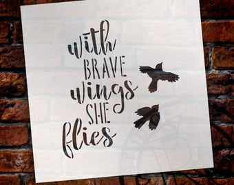 Brave Wings - Birds - Word Art Stencil - Select Size - STCL1894 - by StudioR12