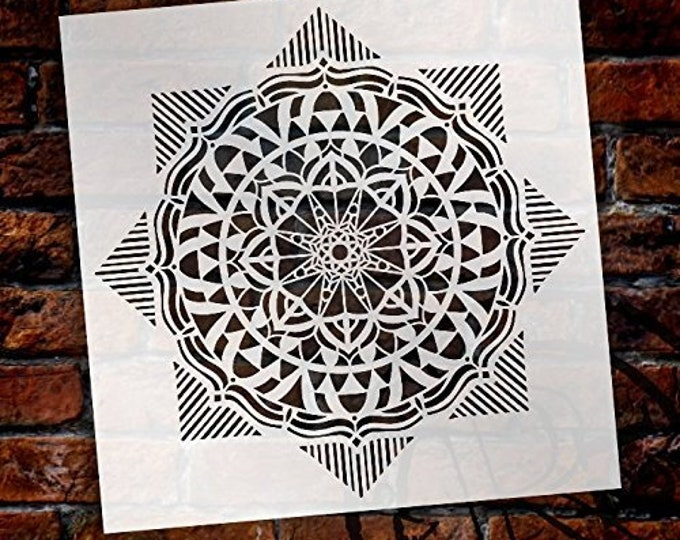 Featured listing image: Mandala - Geometric - Complete Stencil by StudioR12   Reusable Mylar Template   Use to Paint Wood Signs - Pallets - Pillows - Wall Art -...