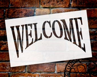 """Colonial Welcome - Word Stencil - 13"""" x 8"""" - SKU:STCL497"""