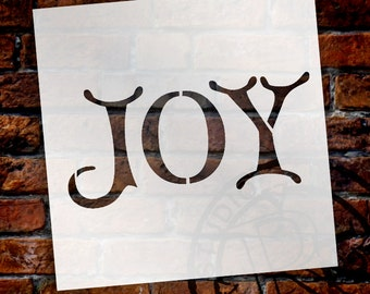 "Word Stencil - Joy - Christmas Card - 6"" x 6""- SKU:STCL615"