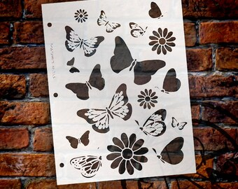 """Butterfly Mary Stencil - 8 1/2"""" x 11""""- STCL149 - by StudioR12"""