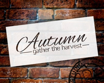 Autumn Word Stencil - Gather The Harvest by StudioR12 | Reusable Mylar Template | Use to Paint Wood Signs - DIY Fall Decor - SELECT SIZE