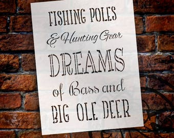 Fishing Poles & Hunting Gear - Part 1 - Word Stencil - Select Size - STCL2083 - by StudioR12