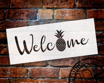 Welcome Pineapple Stencil by StudioR12 | Reusable Mylar Template | Use to Paint Wood Signs - Fruit - DIY Home Decor - SELECT SIZE