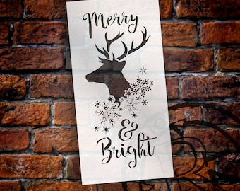 Merry & Bright Stencil by StudioR12 - Reindeer, Snowflakes, Word Art, Christmas, Holiday, Painting, Rustic, Chalk -SELECT SIZE - -STCL2026