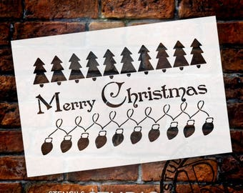 Merry Christmas - Trees & Lights - Word Art Stencil - Select Size - STCL2089 - by StudioR12