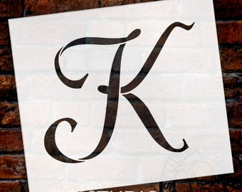 K  -Graceful Monogram Stencil  - Select Size - STCL1911 - by StudioR12